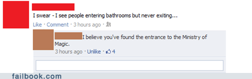 bathrooms,eagles,Harry Potter,witty reply