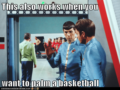 basketball,DeForest Kelley,Leonard Nimoy,live long and prosper,McCoy,palm,Spock,Star Trek