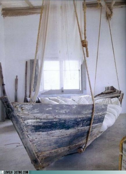 bed,boat,hanging,ropes,suspended