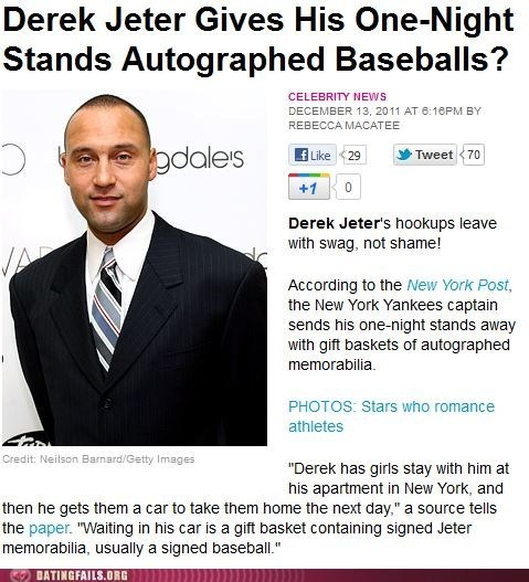 autograph,baseball,dating dispatches,derek jeter,one night stand,prize,walk of shame,yankees