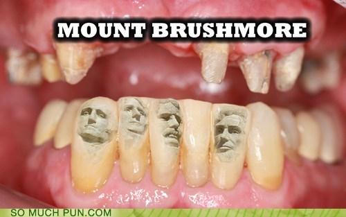 brush,juxtaposition,literalism,more,Mount Rushmore,shoop,similar sounding