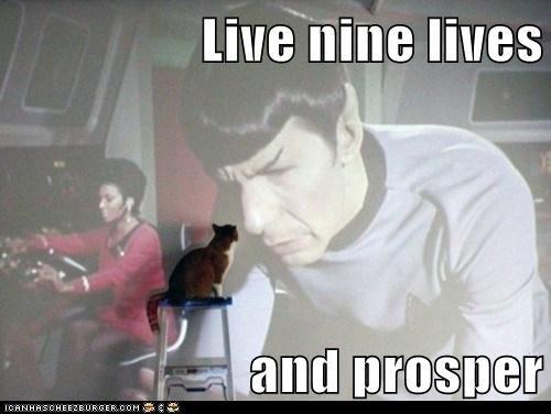 caption,captioned,cat,live,live long and prosper,lives,nine,projector,prosper,screen,Spock,Star Trek