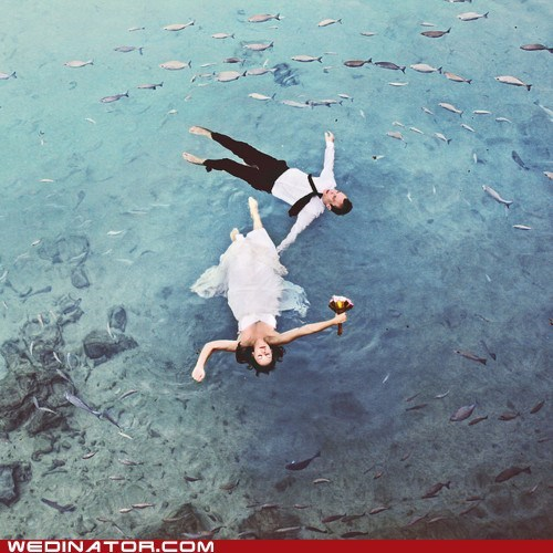 bride,float,funny wedding photos,groom,ocean,water,wet