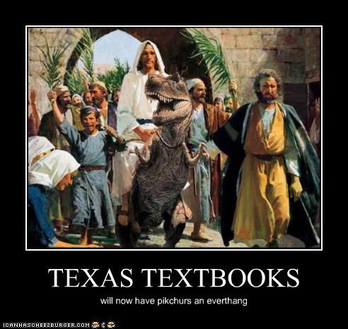 dinosaur,historic lols,jesus,jesus riding a raptor,lol,texas,texas textbooks,textbooks