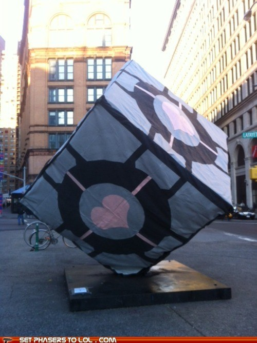 art,companion cube,Portal,prank,valve,video games