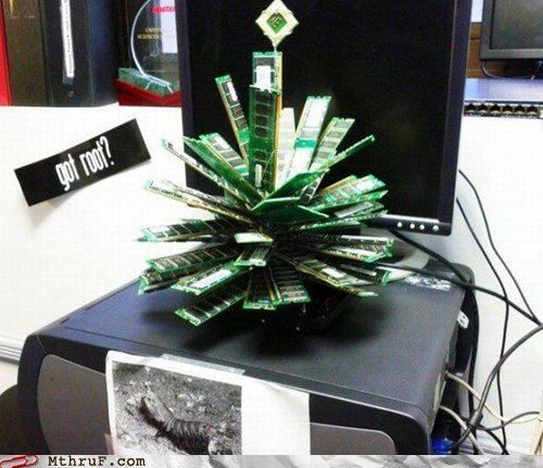 We couldn't afford a tree this year, so we stripped all the old servers down instead