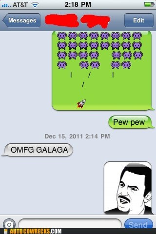 AutocoWrecks,galaga,g rated,mobile phones,space invaders,texting,video games