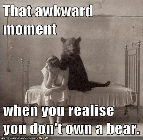 That awkward moment  when you realise you don't own a bear.