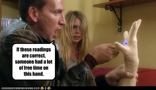 billie piper,christopher eccleston,doctor who,free time,gloves,gross,hand,rose tyler,the doctor