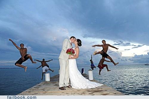 beach,bride,funny wedding photos,grrom,jump,KISS