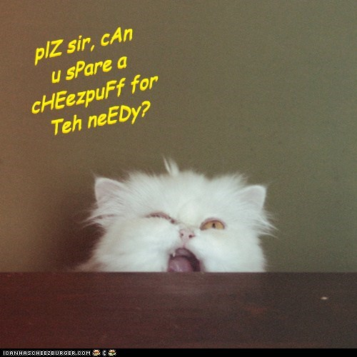 plZ sir, cAn u sPare a cHEezpuFf for Teh neEDy?