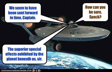 Captain Kirk,enterprise,planet,special effects,Spock,Star Trek,time travel