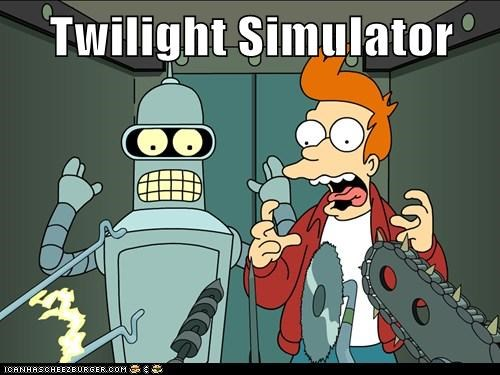 bender,fry,futurama,pain,simulator,suicide booth,twilight jokes