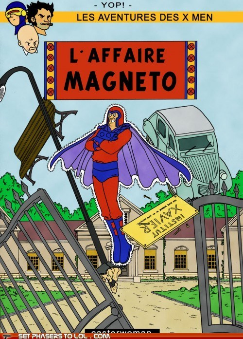french,georges remi,herge,Magneto,Tintin,wolverine,x men