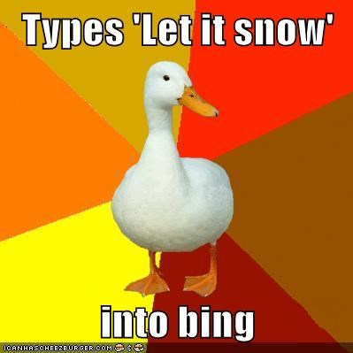 bing,google,let it snow,nice,Technologically Impaired Duck,tricks