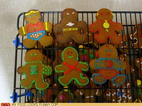characters,cookies,gingerbread,icing,superheroes