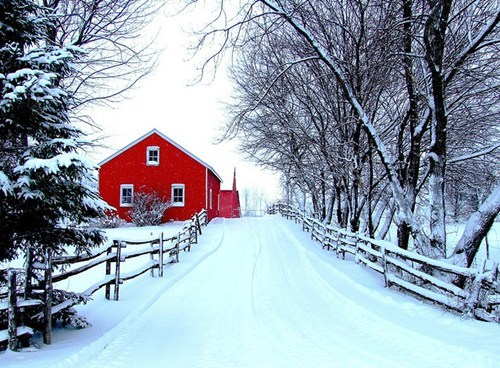 Red Barn and White Snow in Quebec, Canada
