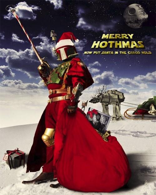 at at,boba fett,bounty hunter,christmas,Hoth,santa,star wars