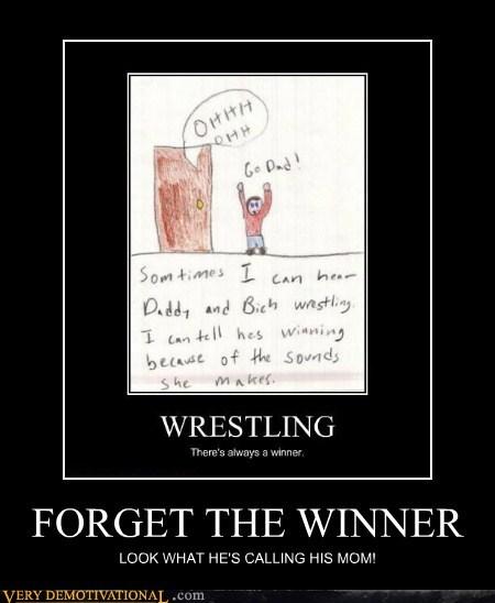 dad,dirty words,hilarious,mom,winner,wrestling