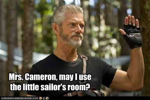 bathroom,commander taylor,raise hand,sailor,Stephen Lang,terra nova