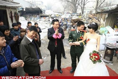 bride,China,funny wedding photos,groom,junk yard