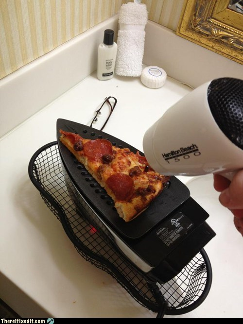 DIY,dual use,g rated,hotel,microwave,pizza is rad,there I fixed it