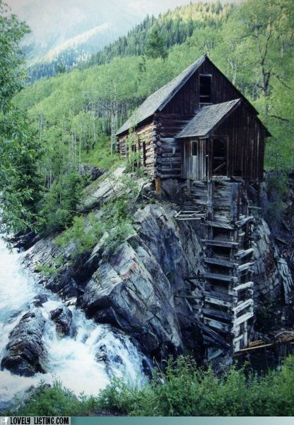 cabin,river,rock,water,woods