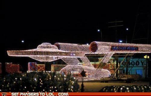 christmas,christmas lights,enterprise,Star Trek