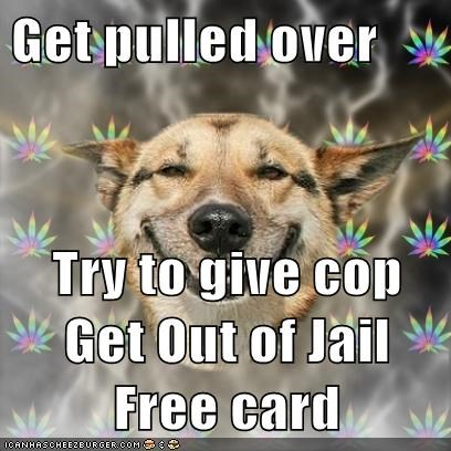 dogs,get out of jail free,high,jail,Memes,monopoly,pulled over