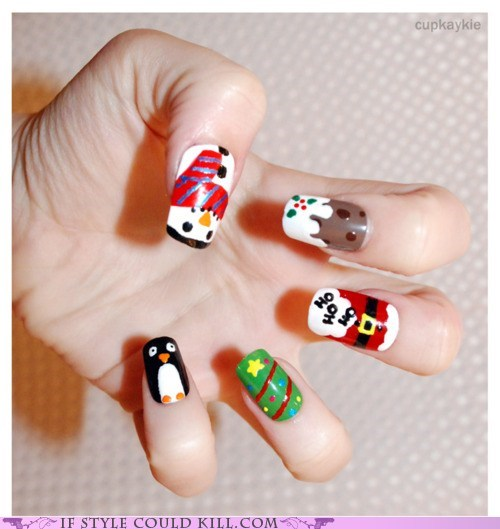 christmas,cool accessories,holiday,nail art,nails,santa