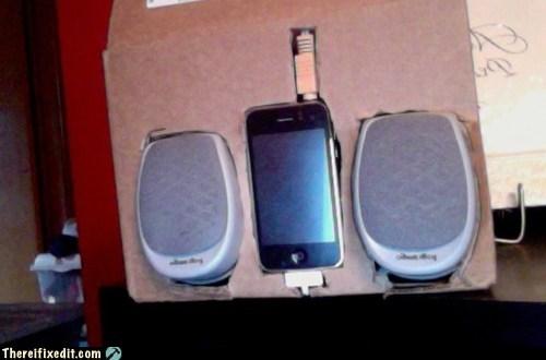 cardboard,iphone,speakers,stereo