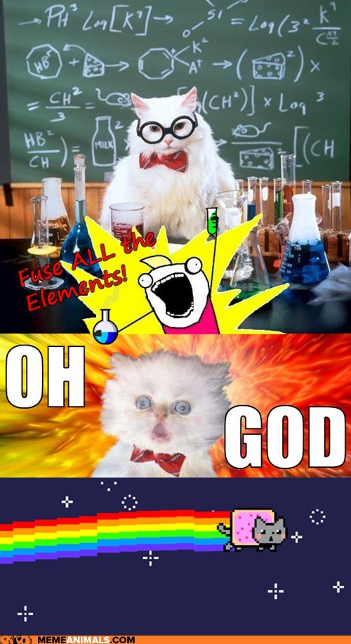 accidents,all the x,catastrophe,Chemistry,explosions,multipanel,Nyan Cat,oh god