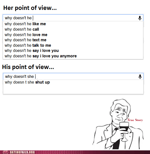 dating,google search,g rated,men and women,perspective,point of view,shut up,true story
