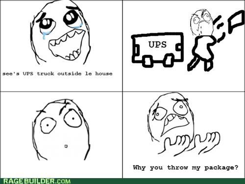 package,Rage Comics,thrown,UPS