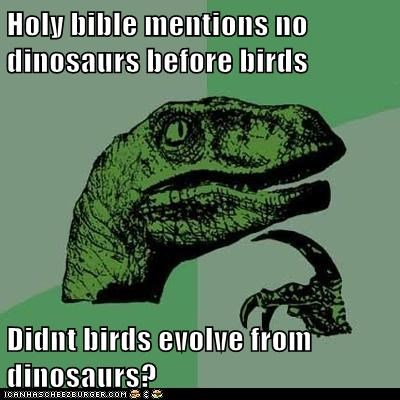 Holy bible mentions no dinosaurs before birds  Didnt birds evolve from dinosaurs?