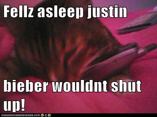 Fellz asleep justin  bieber wouldnt shut up!
