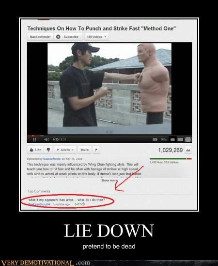 hilarious,lie down,martial arts,play dead,wtf