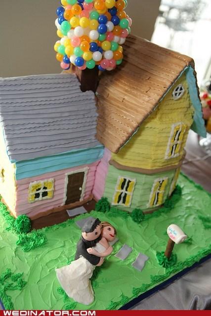 disney,funny wedding photos,pixar,up,wedding cake