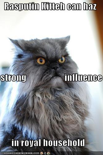 Rasputin Kitteh can haz strong                     influence       in royal household