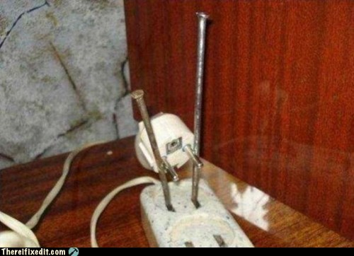 electricity,fire hazard,nails,plug,power strip