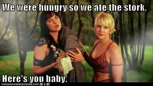 baby,gabrielle,hungry,Lucy Lawless,renee oconnor,stork,Xena,Xena Warrior Princess