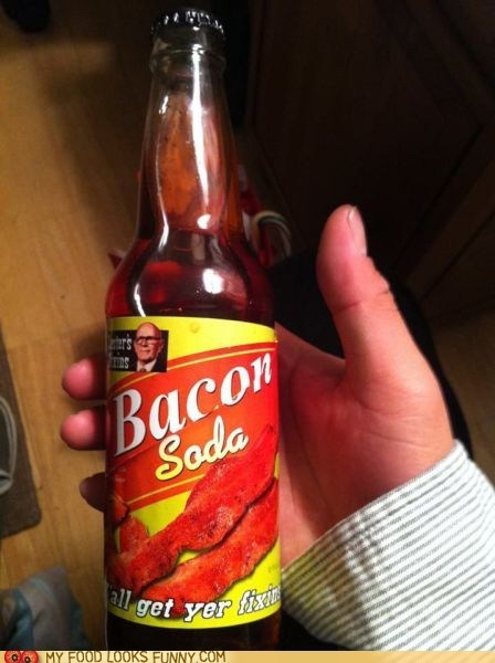 bacon,bottle,flavor,label,soda