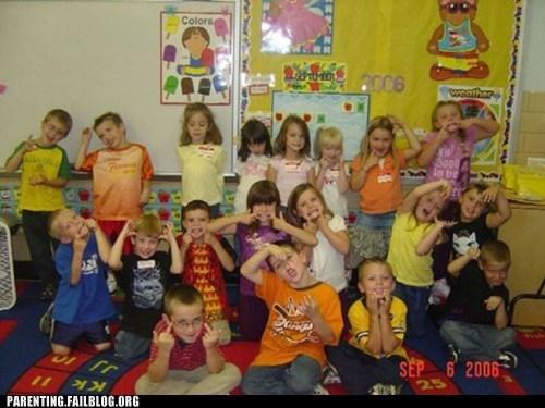 children,classroom,derp face,elementary school,goofy,hard,middle finger,Parenting Fail,the bird