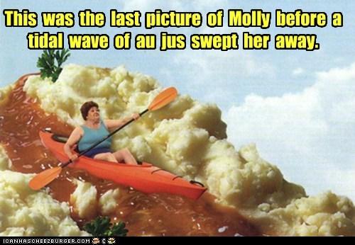 food,gravy river,gravy train,kayaking,mixed media,photoshopped,river,wtf