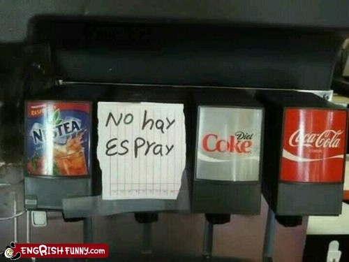 no hay espray,no sprite,out of order,soda