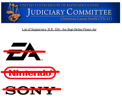 Game Companies Dropping SOPA Support of the Day