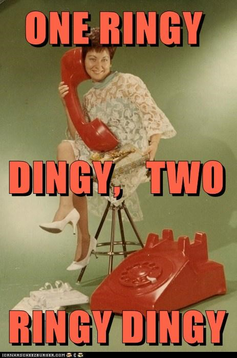 giant phone,historic lols,one ringy dingy,phone,two ringy dingy,vintage,woman