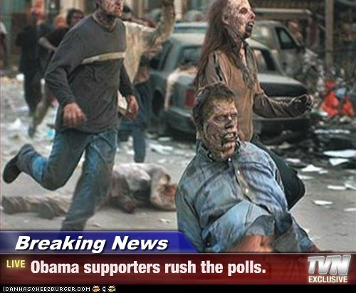 Breaking News - Obama supporters rush the polls.