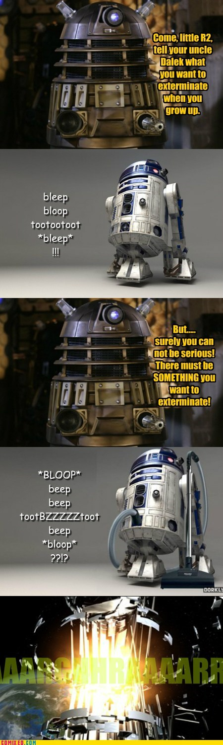dalek,doctor who,game over,r2d2,star wars,the internets