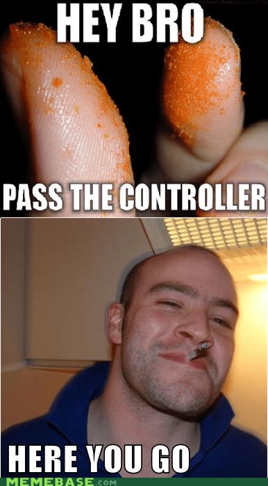 cheeto,controller,eww,fingers,Good Guy Greg